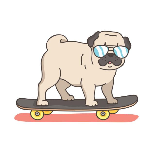 Pug Dog Skater Skateboarding Funny Gifts