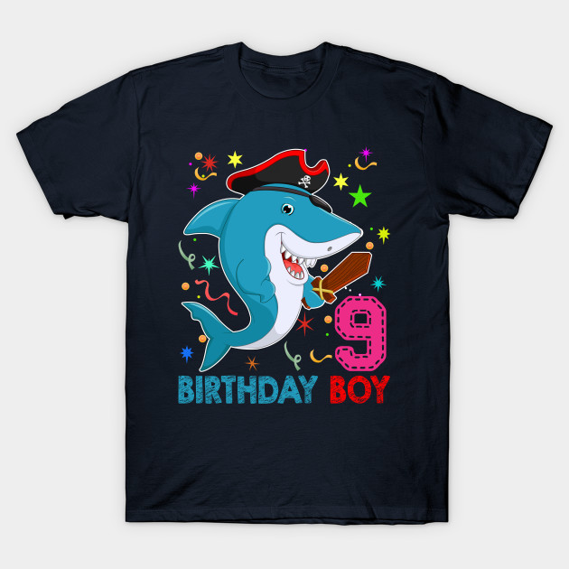 Kids Boys 9th Birthday Shark T Shirt