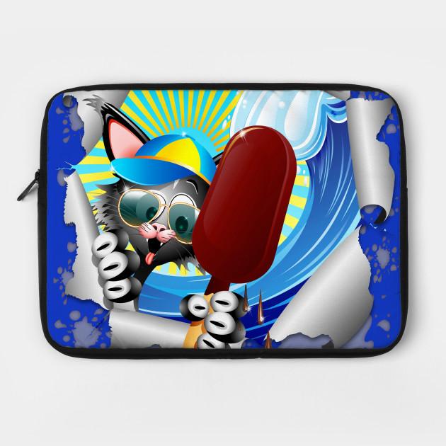 Fun Cat Cartoon Summer Holidays and Ice Cream