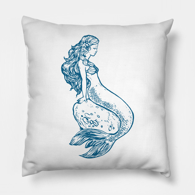 Blue Line Mermaid Drawing Mermaid Pillow Teepublic