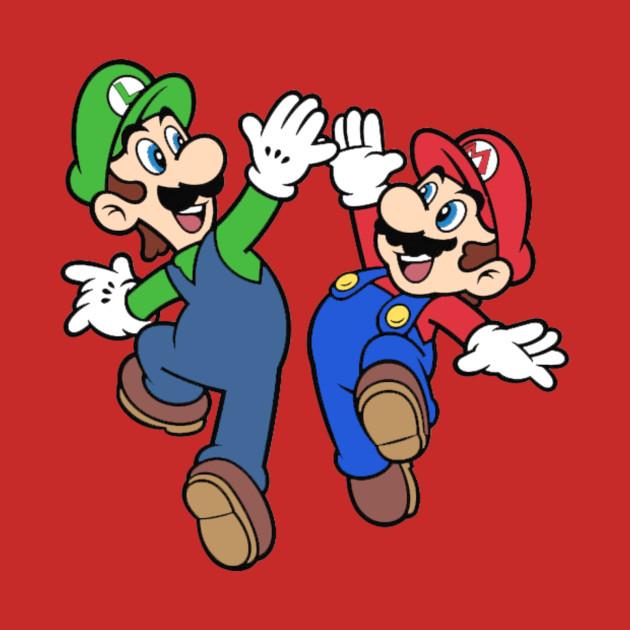 mario and luigi high five mario and luigi t shirt teepublic