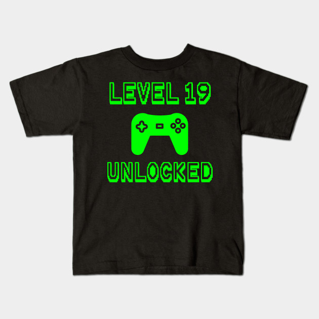 Level 19 Unlocked 19th Gamer Birthday Gift Gaming Present Kids T Shirt