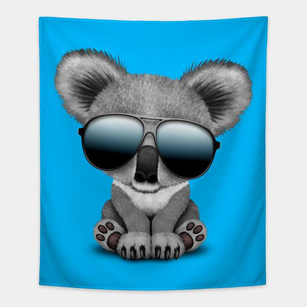 5d9505bf86c Cute Baby Koala Bear Wearing Sunglasses - Baby Koala - Tapestry ...