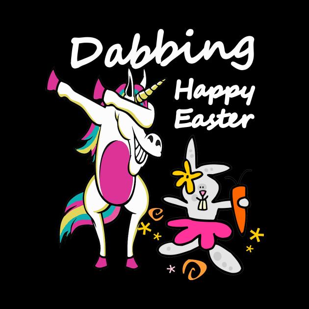 Dabbing Happy Easter Unicorn and Rabbit Fun Gift Design
