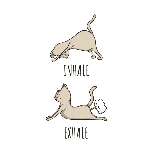 Inhale - Exhale funny yoga cat design