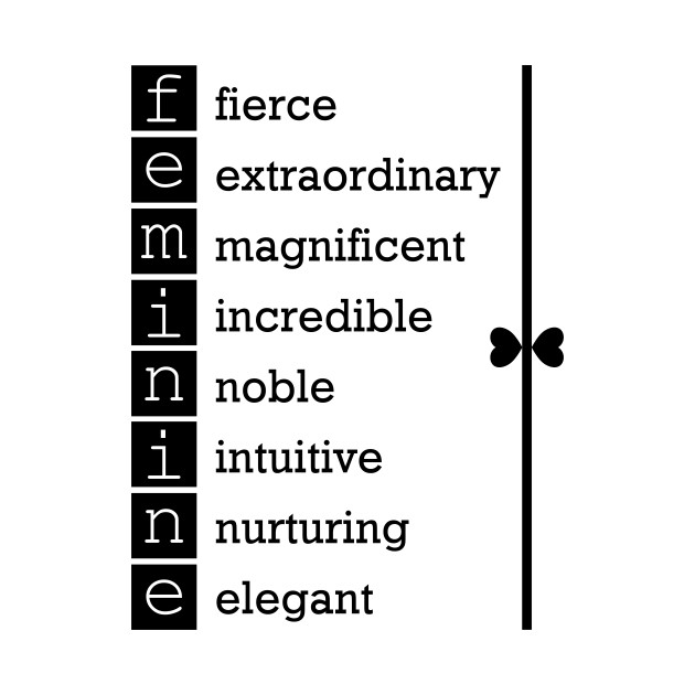 Feminine inspirational words in black