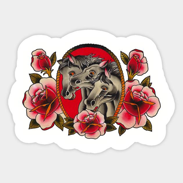 Pharaoh S Horses Tattoo Art Sticker Teepublic