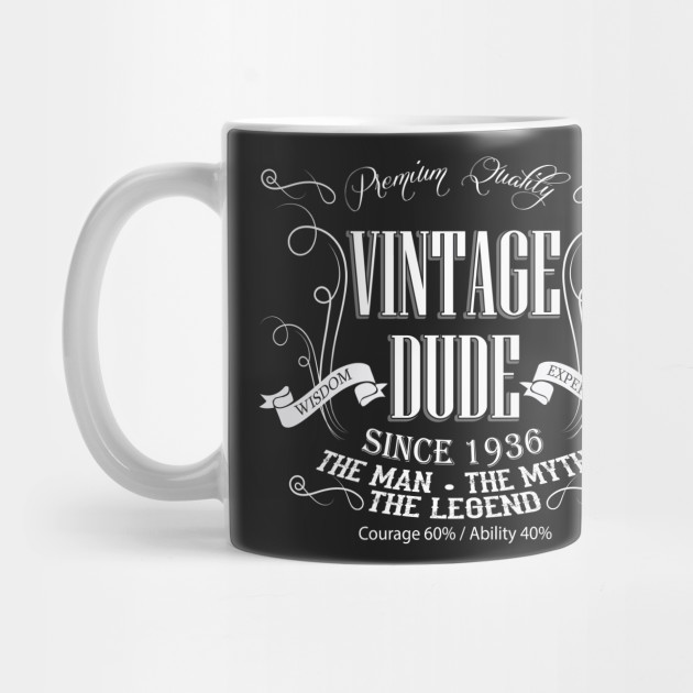 Vintage Dude 80 Since 1936 80th Birthday Gift For Men Mug