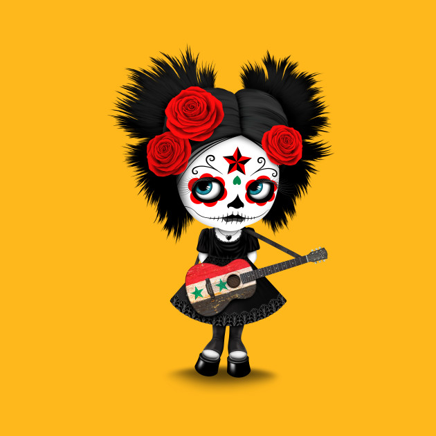 Sugar Skull Girl Playing Syrian Flag Guitar