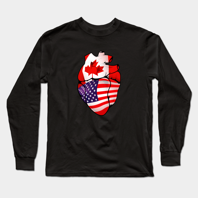 American Canadian Split Anatomical Heart With Flags - USA-Canada