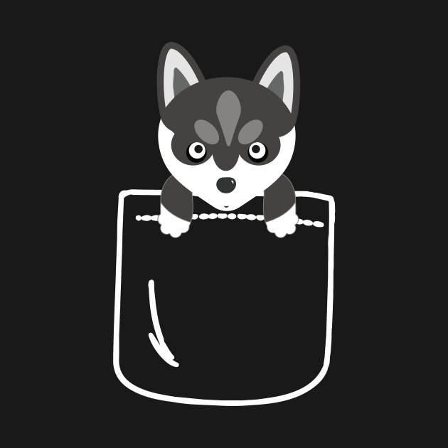 Husky in your front pocket funny dog lover gift husky in for Front pocket t shirt design