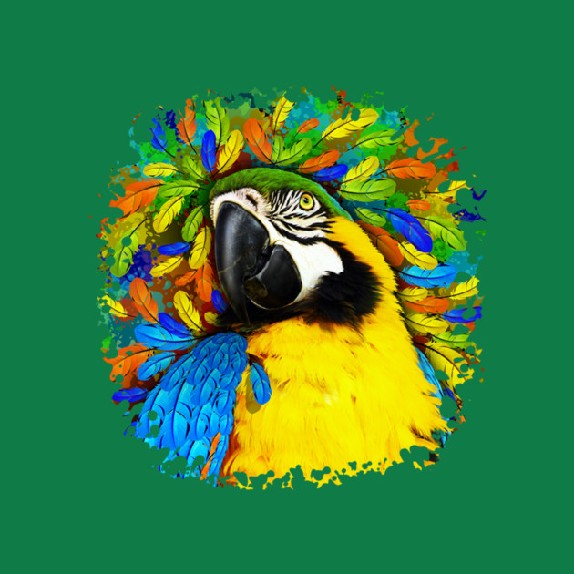 gold and blue macaw parrot fantasy exotic bird t shirt teepublic
