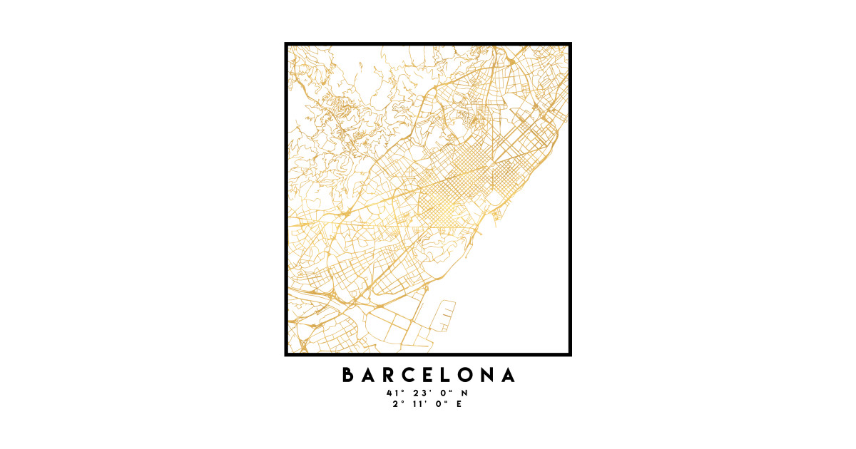 Barcelona In Spain Map.Barcelona Spain City Street Map Art Barcelona T Shirt Teepublic