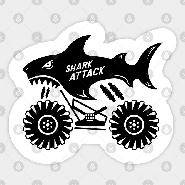 Shark Monster Truck Shark Attack Boy Monster Truck Monster Truck Sticker Teepublic Uk