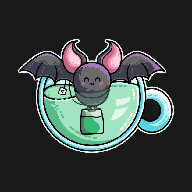 Bat-tea Pun of Kawaii Cute Bat and Green Tea