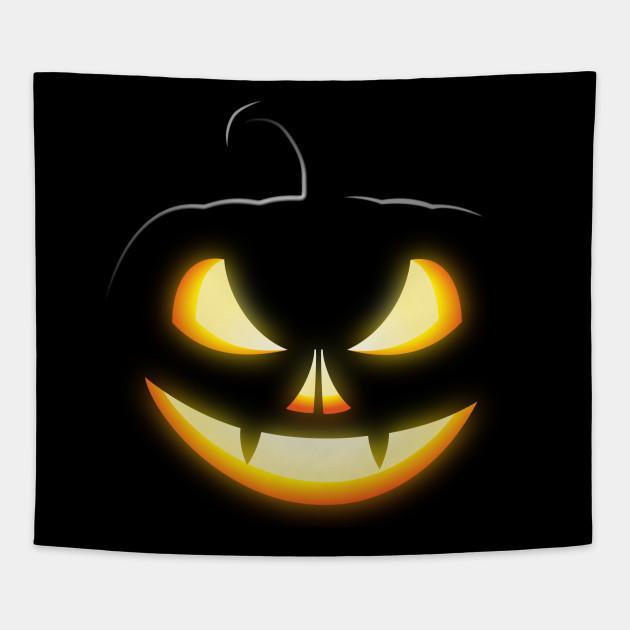 Black Pumpkin Skull Vampire Halloween Night