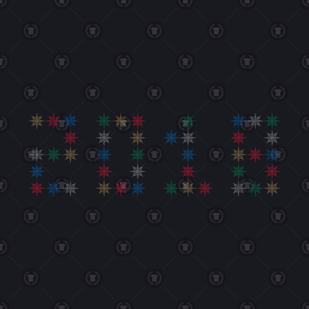 Pixel 2018 in Colorful Snowflakes Gold Blue Red Silver Green