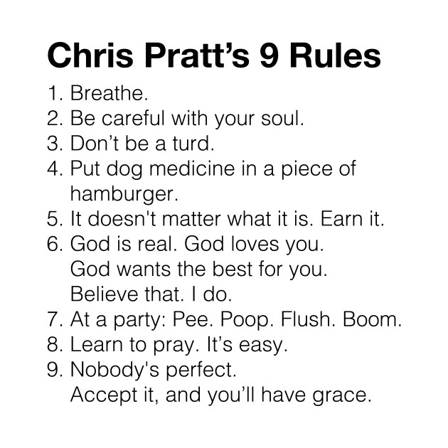 Chris Pratt 9 Rules