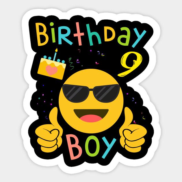Kids Emoji 9th Birthday Boy T Shirt Fun 9 Years Old Gift Sticker
