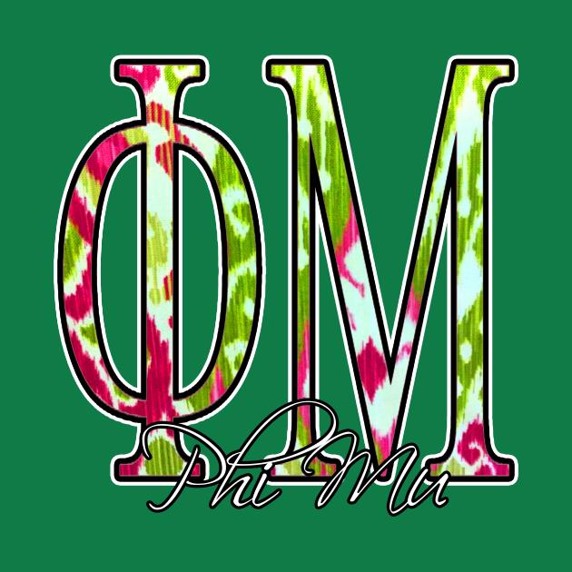Pretty in Pink and Green Phi Mu Design.