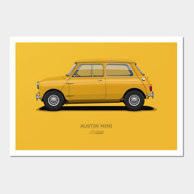 Austin Mini Orange - Mr Bean - Wall Art | TeePublic