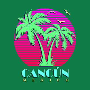e89a294b4dee7f Cancun Mexico Palm Trees Sunset T-Shirt