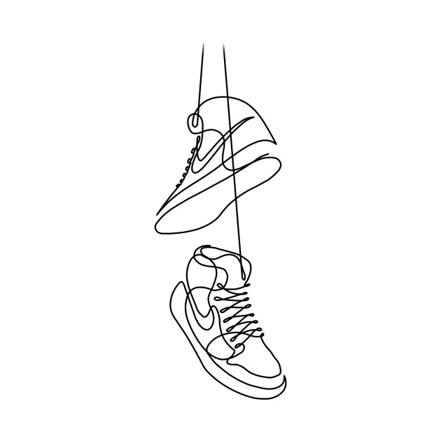 nike sneakers drawing in one line sneakers tshirt