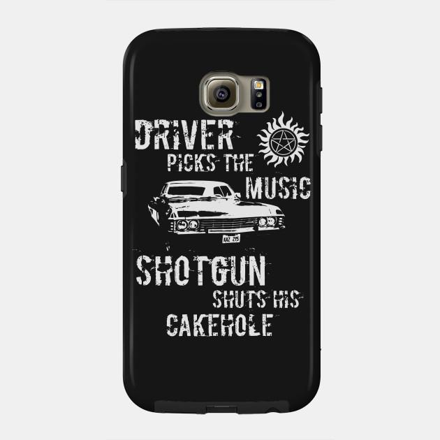 Driver Picks The Music Shotgun Shutshis Cakehole Supernatural Phone Case Teepublic