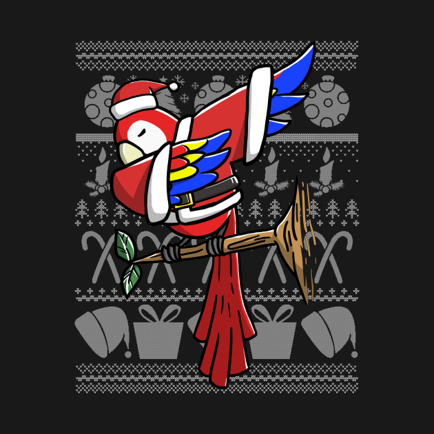 Dabbing Parrot Ugly Christmas Sweater Graphic