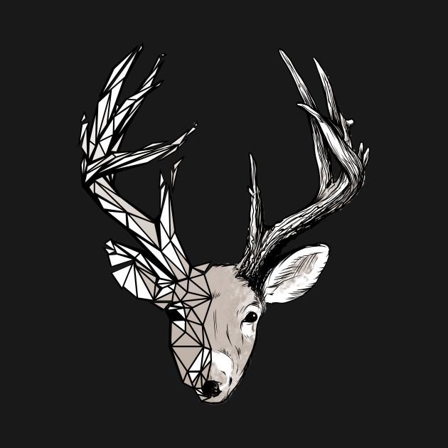 Buck Deer Geometrical Sketch Outdoors Wildlife Animal Rustic