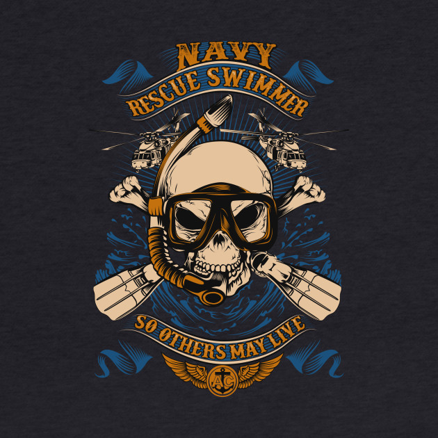 """So Others May Live"" – Navy Rescue Swimmer Motto Skull T-Shirt"