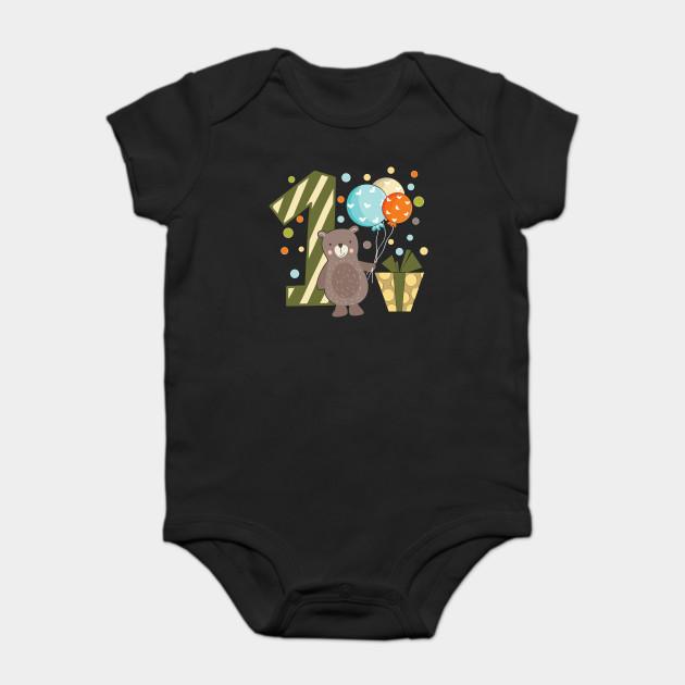 First 1 Birthday Toddler Boy Son Nephew Teddy Bear Cute Sweet One Year Old Mug Sticker Pillow Gifts Ideas Onesie