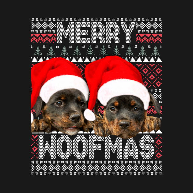 Merry Woofmas Cute Rottweiler Puppies With Santa Hat Rottweiler