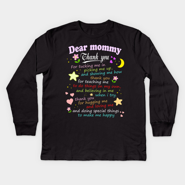 d51d4d35 Dear Mommy Thank You - Mothers Day Gift Ideas - Kids Long Sleeve T ...