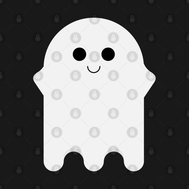 Cute Kawaii Ghost - Black and White