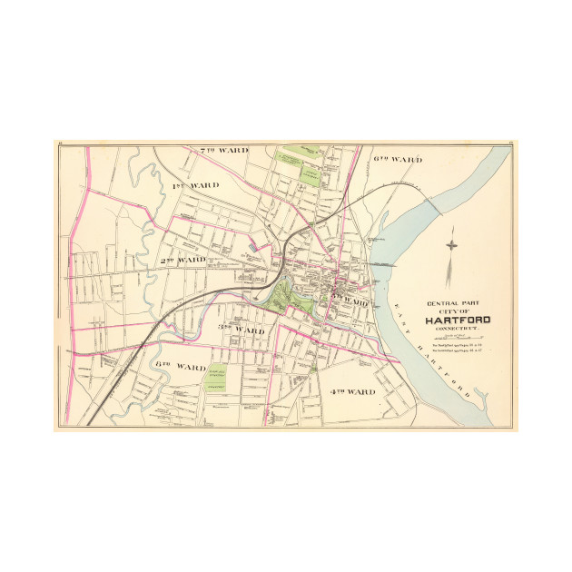 Vintage Map of Hartford Connecticut (1893) - Hartford Ct - T-Shirt ...