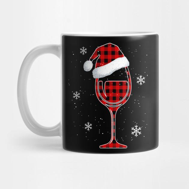 Red plaid Buffalo Christmas Wine With Santa Hat Matching Long Sleeve TShirt Mug