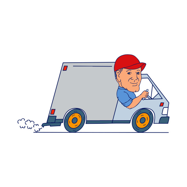 Delivery Man Driving Truck Van Cartoon - Delivery Man ...
