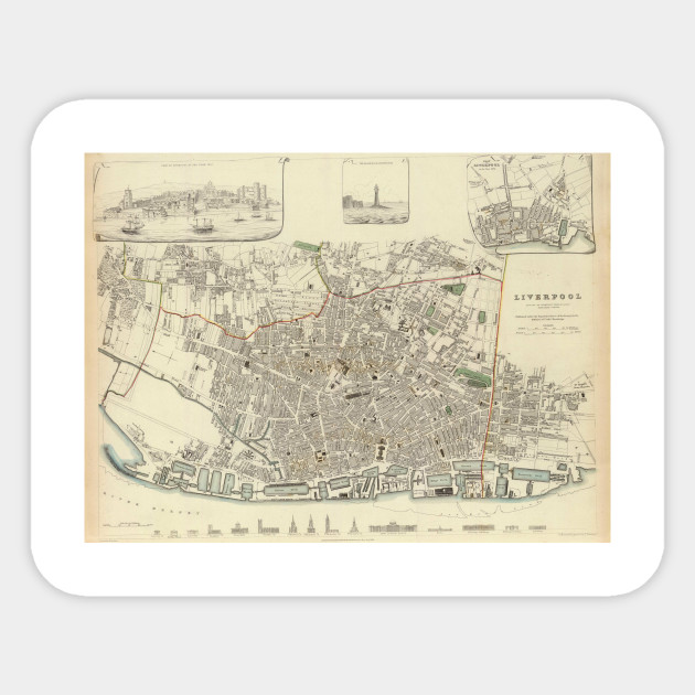 Liverpool Map Of England.Vintage Map Of Liverpool England 1836