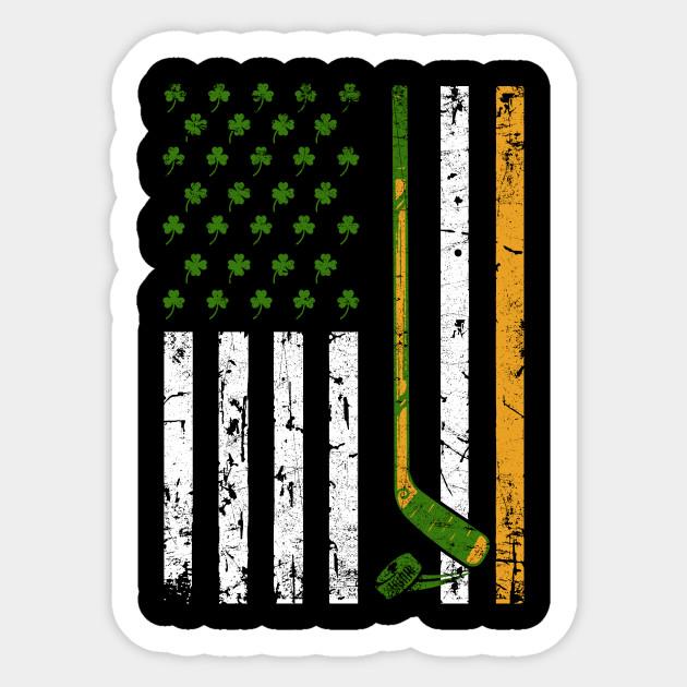 64aa00e226 Irish American Hockey Flag Shirt Gift for Hockey St Patrick s Gift Sticker