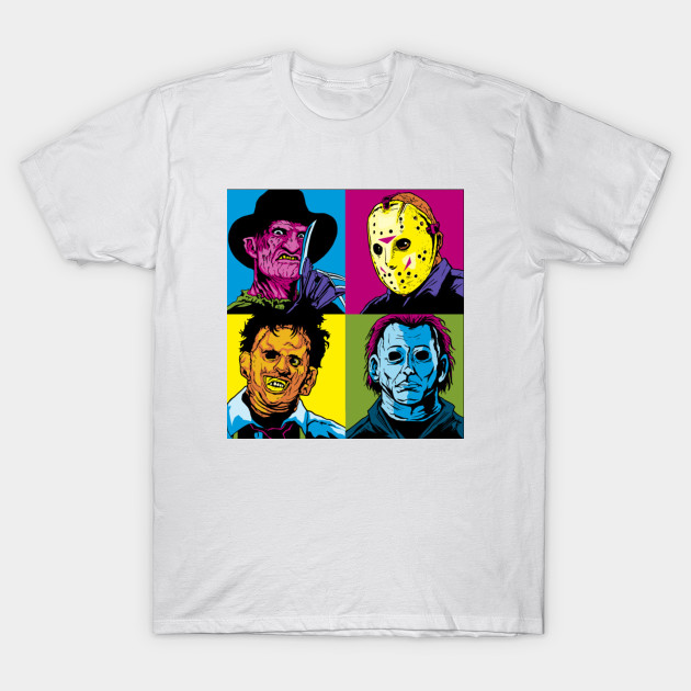 Horror Collage Pop Art - Jason Leatherface Freddy Myers T-Shirt-TOZ
