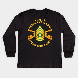 Armor Enlisted Sergeant Major Sgm Childrens Long Sleeve T-Shirt Boys Cotton Tee Tops