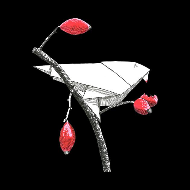 Fruit eating origami bird