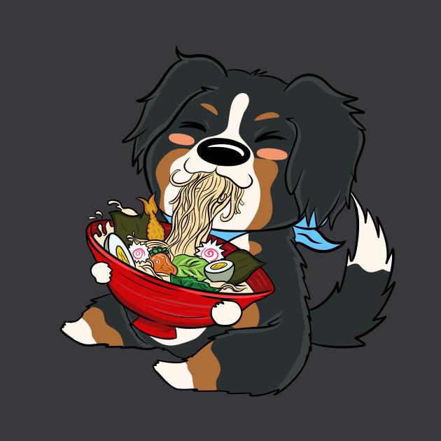 Bernese Mountain Dog Kawaii Eating Ramen