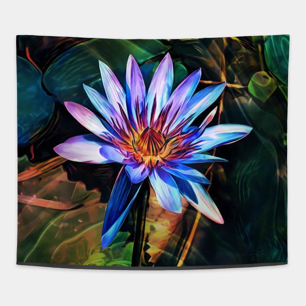 Blue Lotus Lotus Flower Tapestry Teepublic