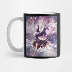 Cat Riding Unicorn Mugs Teepublic