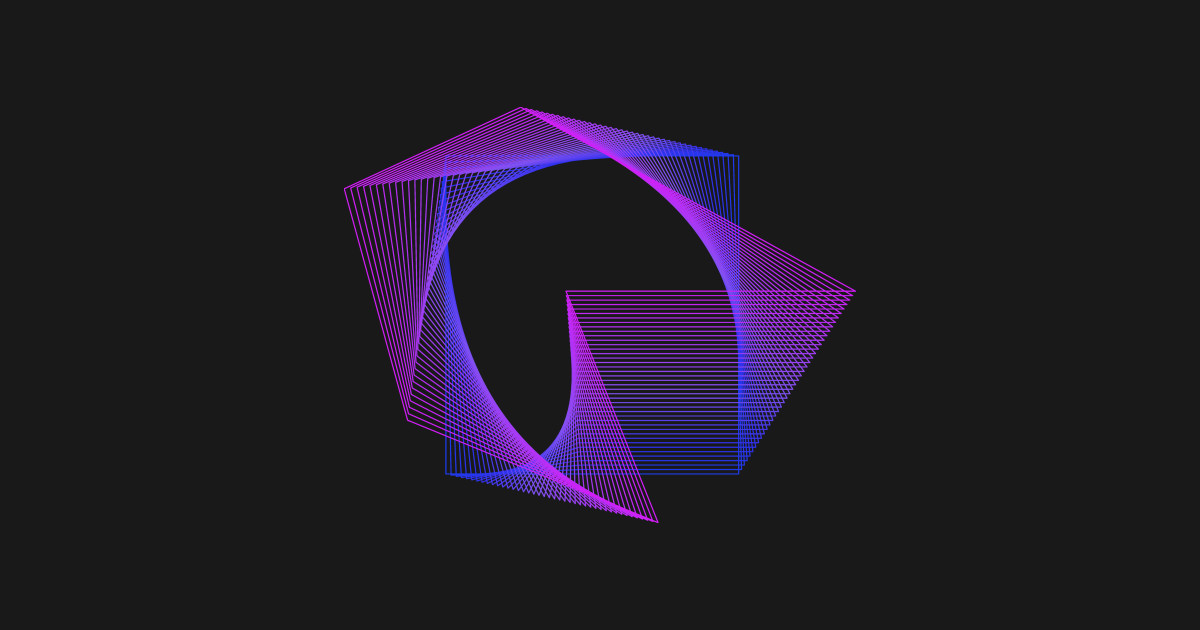 Abstract Geometry Square Line Art Neon Colors By Ddtk