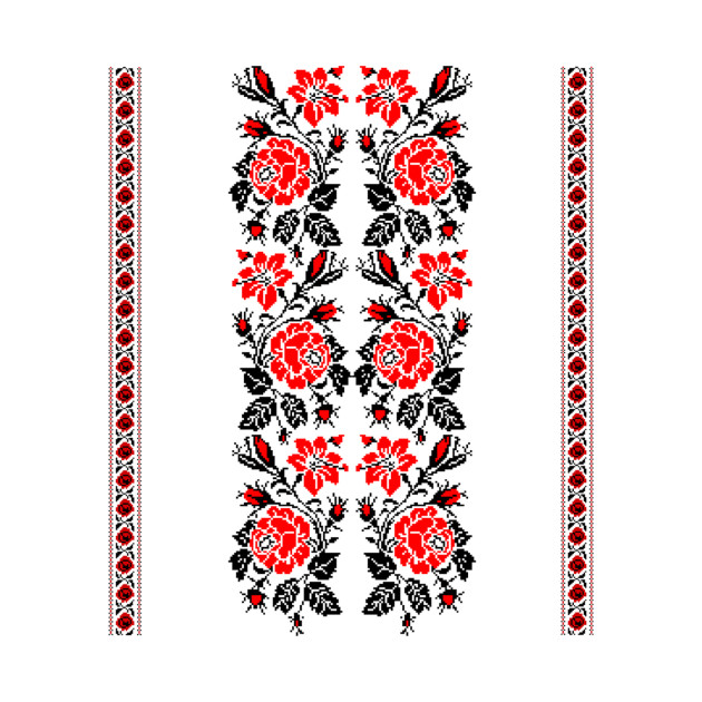 European Ladies Embroidery Design Red Flowers Embroidery Designs