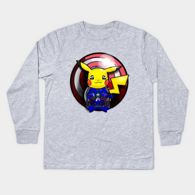ebb4aa314 Captain Pikachu - Pokemon - Kids Long Sleeve T-Shirt | TeePublic