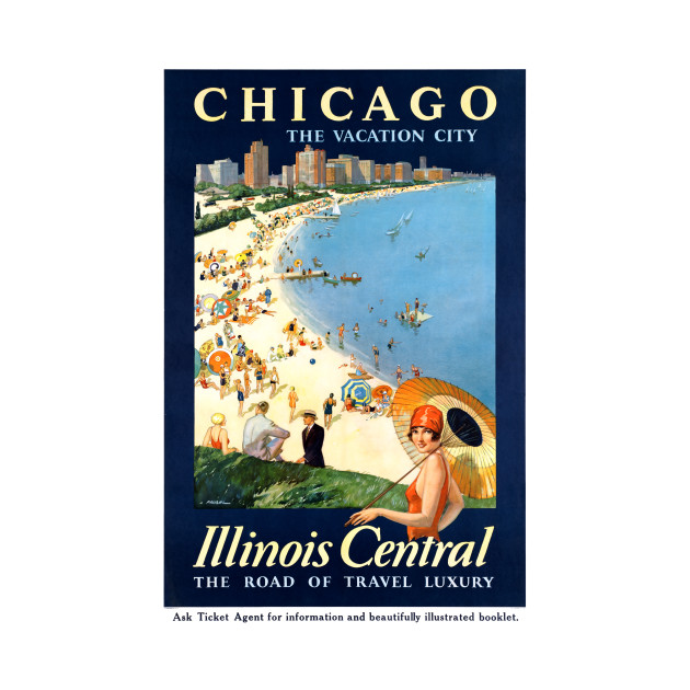 Vintage Travel Poster Chicago Illinoise Central